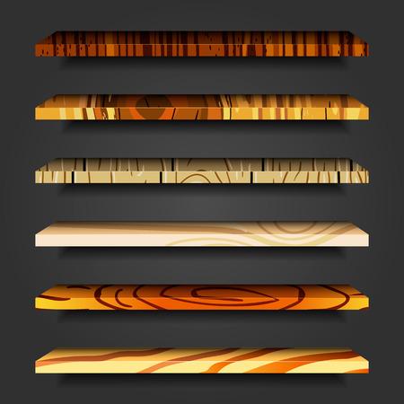 wooden shelves: Set vector wooden shelves. User interface illustration.