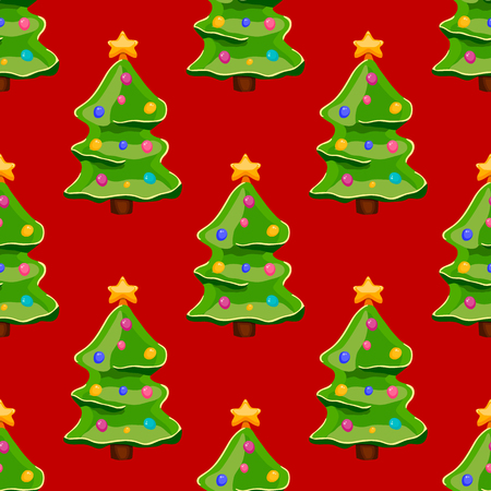 christmas tree illustration: seamless pattern with christmas tree. Christmas illustration.
