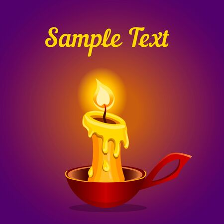candlestick: Card with a burning candle in red candlestick.