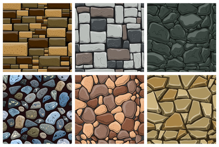 Set of seamless pattern with decorative stones. Vector stone wall.