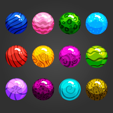 glass ball: Cute cartoon shiny bubbles. Vector element can be used for game design. Illustration