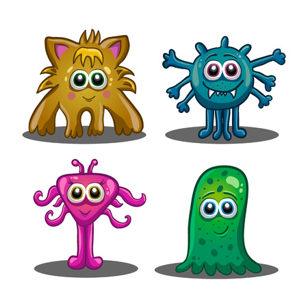 slick: Set of cute cartoon monsters isolated on white background.