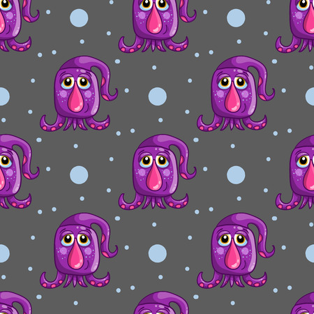 cute wallpaper: Seamless pattern with cute monster. UFO background.