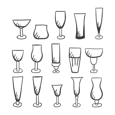 champagne flute: Set of vector stemware. Doodle glasses illustration.