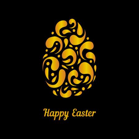 Greeting card with golden easter egg. Happy Easter illustration. Vetores