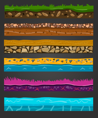 Seamless ground elements set, vector landscape illustration