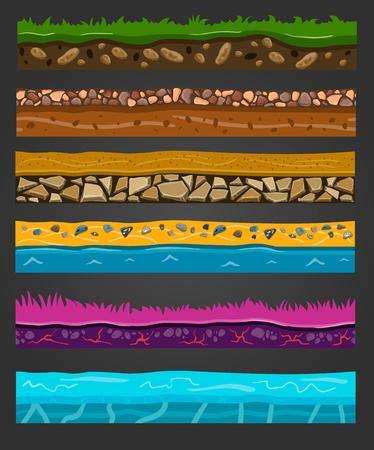 ground: Seamless ground elements set, vector landscape illustration