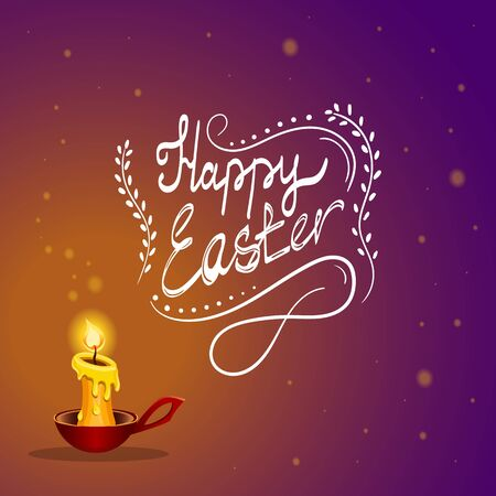 easter candle is burning: Happy Easter typographical gradient background a burning candle from which sparks fly away. Fairytale  Holiday illustration.