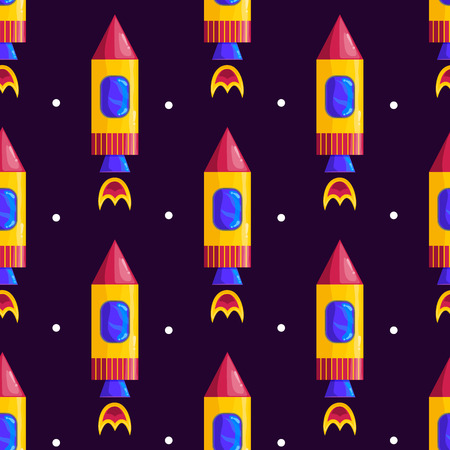 rocket ship: Seamless pattern with rockets. Space illustration. Illustration