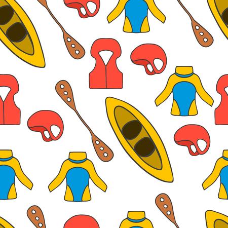 Seamless pattern with thermal underwear. Kayaking illustration.