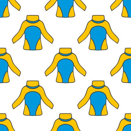 thermal: Seamless pattern with thermal underwear. Kayaking illustration.