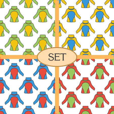 thermal: Set of seamless pattern with thermal underwear. Kayaking illustration.