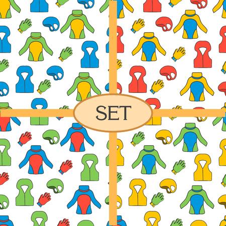 hermetic: Set of seamless pattern with equipment for kayaking. Kayaking illustration.