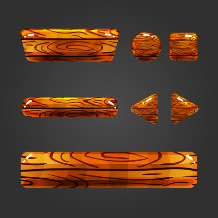 different shapes: Set of wooden button  with different shapes. Vector gui elements for game design.