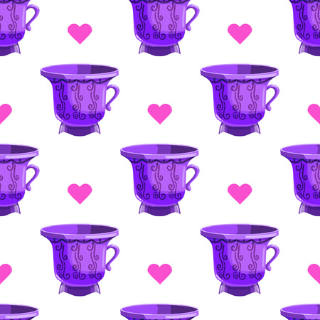 coffeetime: Seamless pattern with cartoon mugs. Illustration with cooking utensils.