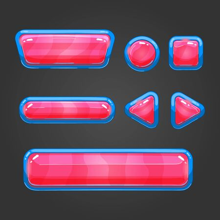 glass button: Set of game interface button color. Button for web or game design. Illustration