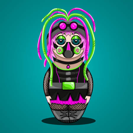 subcultures: Vector cartoon girl  cyber goth in the form of nested doll. Illustration subcultures. Illustration