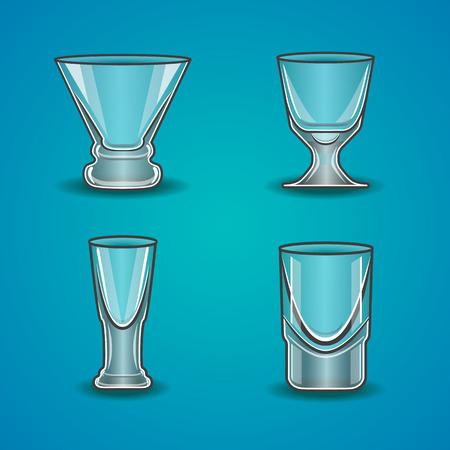 stemware: Vector set of stemware. Transparent glass on a blue background.