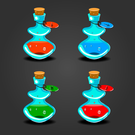 antidote: Set bottles with different potions. Game interface illustration.