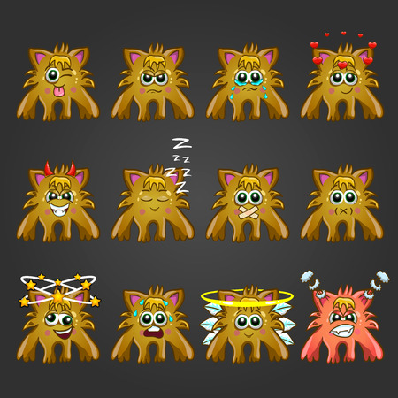 nimbus: Set of cute cartoon monsters with different emotions. Illustration
