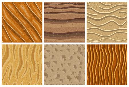 barren: Set of sand seamless pattern. Illustration texture Illustration