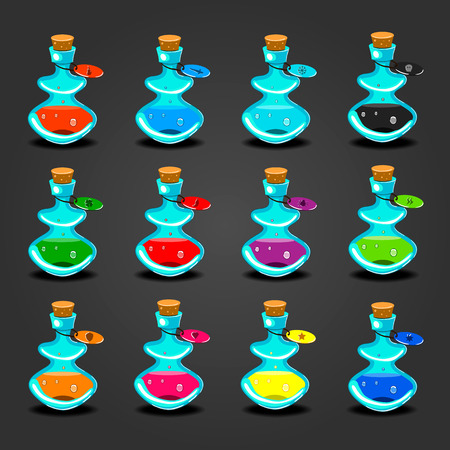 bung: Set bottles with different potions. Game interface illustration.