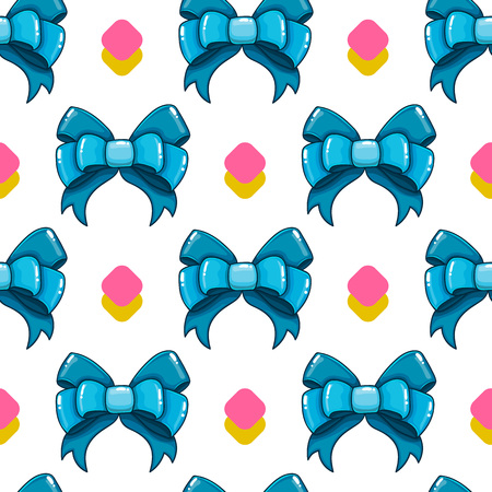 ribbon background: Seamless pattern with cute  bows. Illustration in cartoon style.