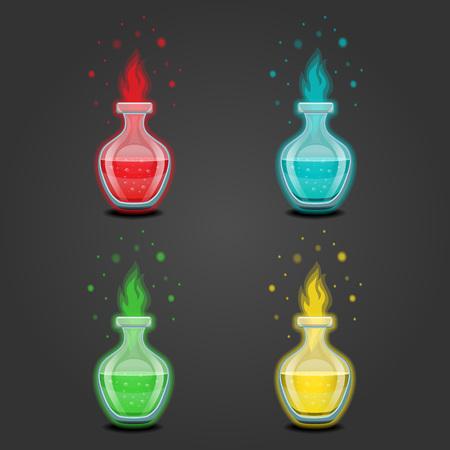 elixir: Botella con el líquido. Elixir mágico. Juego de diseño de la ilustración.
