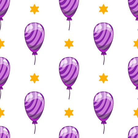 Seamless pattern with cute cartoon vector  balloons. Cartoon illustration.