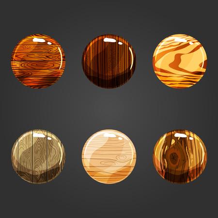 hardwood flooring: Set of shiny wooden square button. Illustration for game design.