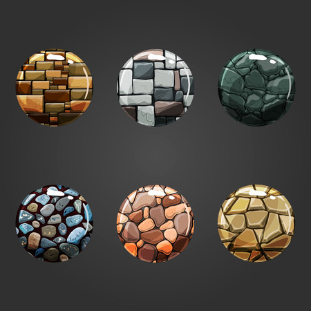 Set of shiny stone  square button. Illustration for game design.