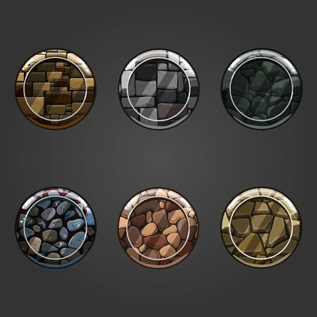 granite: Set of shiny stone  square button. Illustration for game design.