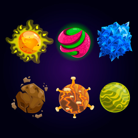 meteorite: Set of fantasy cartoon planet. Space illustration.