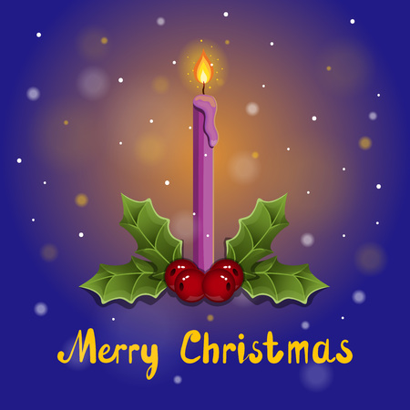 burning candle: Merry Christmas greeting card with burning candle.