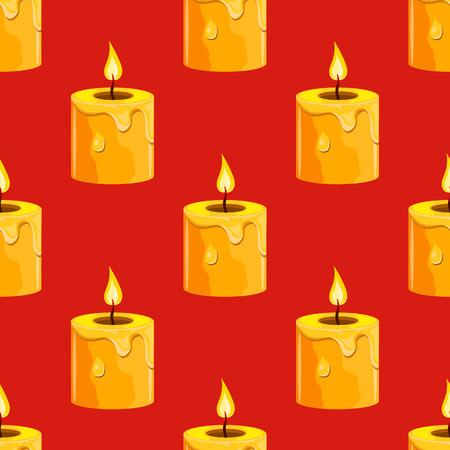 burning candle: Seamless pattern with burning candle. Cartoon illustration