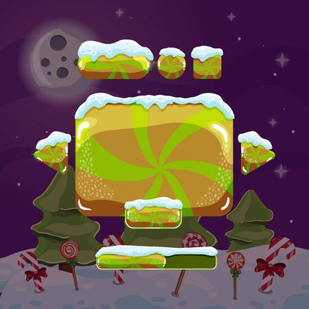 Sweet vector winter user interface game. Christmas button Illustration