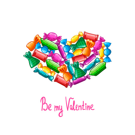 Valentine greeting card with candy Illustration