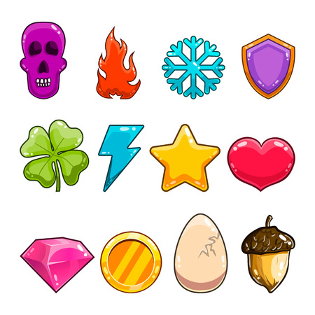 Big set with game items icon Illustration