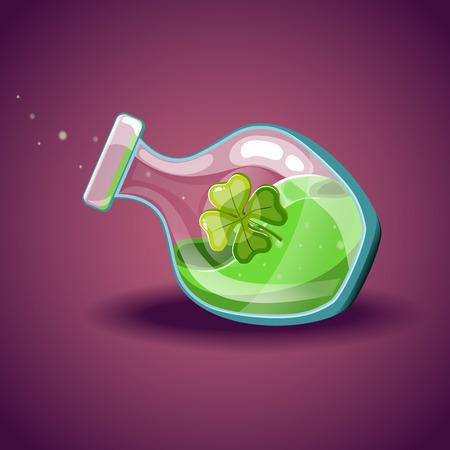 elixir: Botella con la hoja del trébol, elixir mágico
