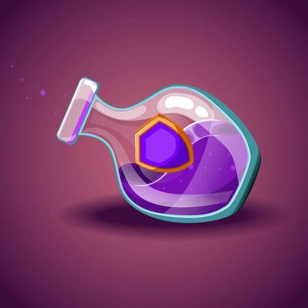elixir: Botella con el escudo, elixir mágico Vectores