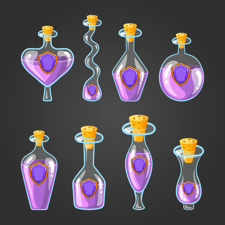Set with bottles of shield potion