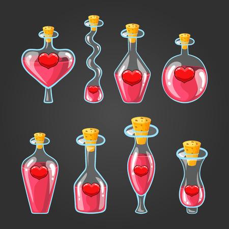 elixir: Set con diferentes botellas de poción de amor
