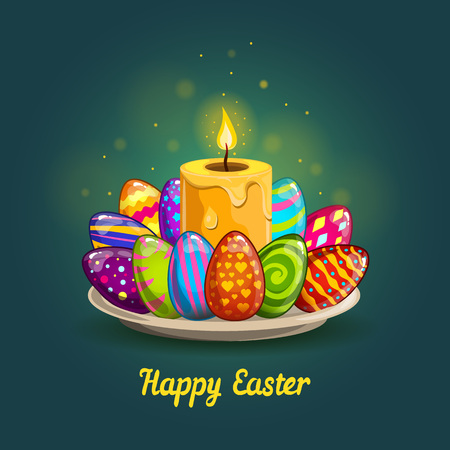 easter candle: Card with Easter eggs and candle