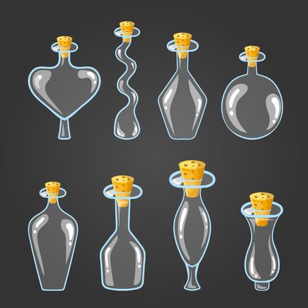 elixir: Big set with empty different bottle elixir. Vectores