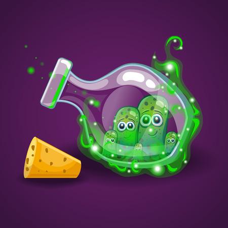 elixir: Botella con monstruos en humo mágico.