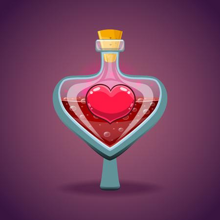 elixir: Bottle with heart, magic elixir Illustration