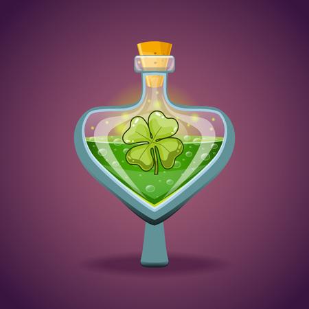 poison bottle: Bottle with clover leaf, magic elixir Illustration