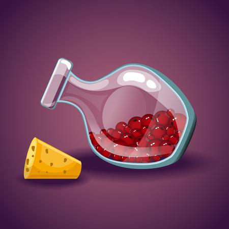 Cartoon vector bottles with berries Illustration