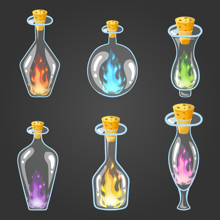survive: Big set of bottle elixir with flame