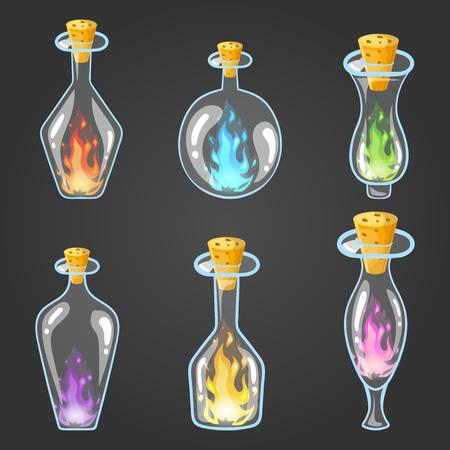 Big set of bottle elixir with flame